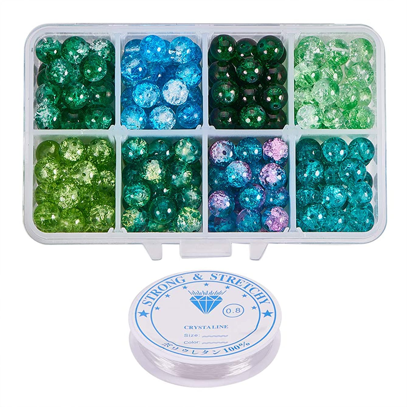 PH PandaHall About 240pcs 8 Color Green Series 8mm Handcrafted Crackle Baking Painted Glass Beads Assortment Lot with Crystal Elastic Thread for Jewelry Making (0.8mm; 5m/roll)