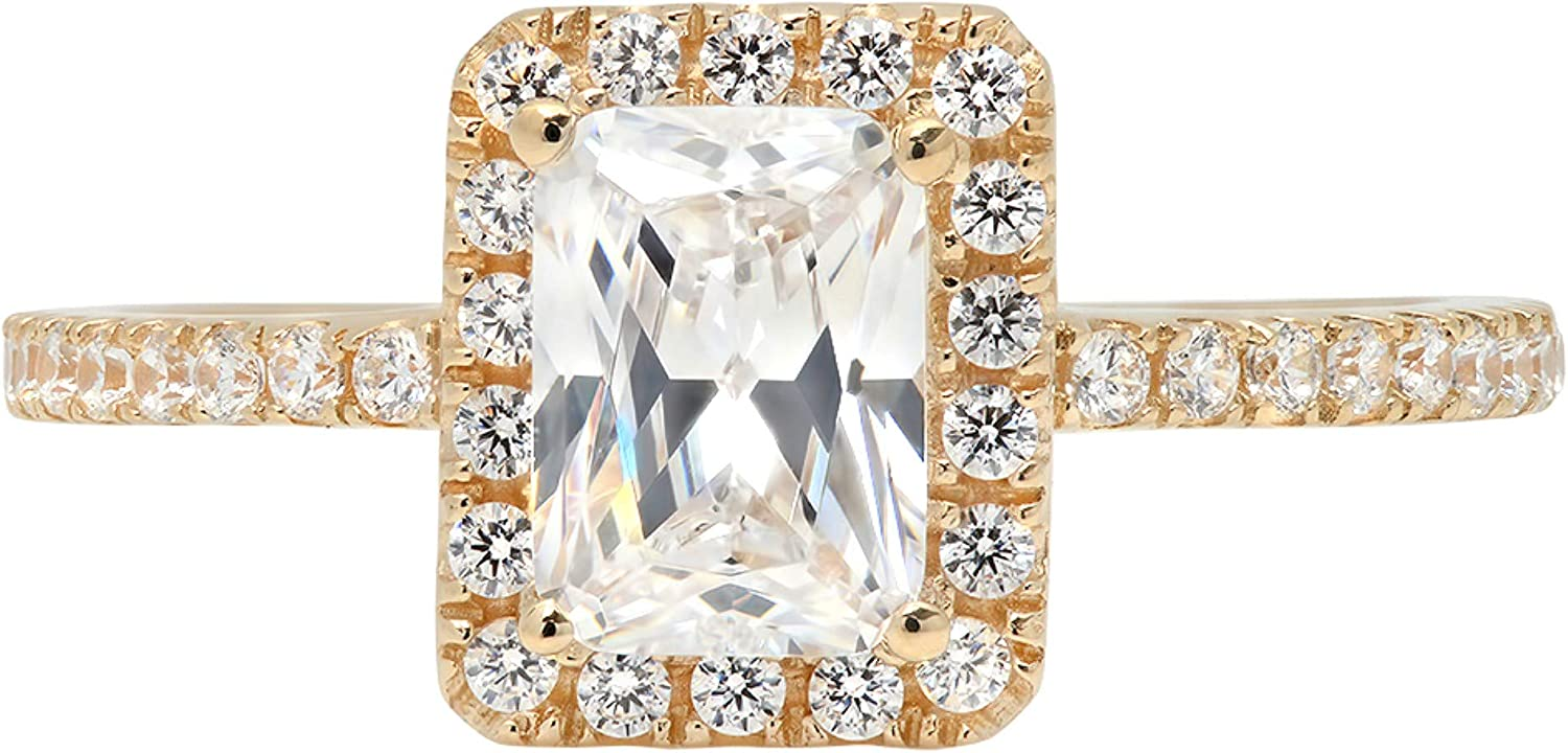 1.85ct Brilliant Emerald Cut Solitaire with accent Stunning Genuine Lab Created White Sapphire Ideal VVS1 & Simulated Diamond Engagement Promise Anniversary Bridal Wedding Ring Solid 14k Yellow Gold
