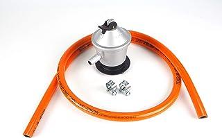comprar comparacion Kit regulador de gas butano + goma 1,5 metros y dos abrazaderas metálicas, Color plateado/naranja, Talla única