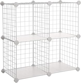 SONGMICS Metal Wire Storage Cube, Shelves Organizer,Stackable Storage Bins, Modular Bookcase, DIY Closet Cabinet Shelf, 24.8