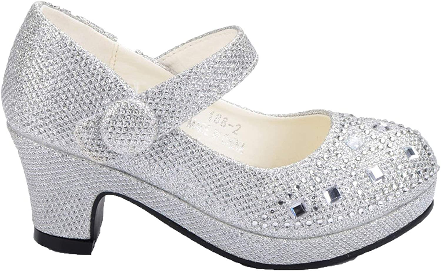 Ytb-home for Girls High Heel Glitter Shiny Rhinestone Party Dress shoes
