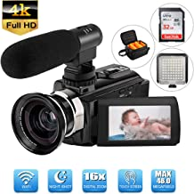 4K Camcorder Video Camera WiFi Digital Camcorder (Included 32 G SD Card) with Microphone Wide Angle Lens 3.0in 270° Rotation LCD Touch Screen LED Light IR Night Vision Vlogging YouTube