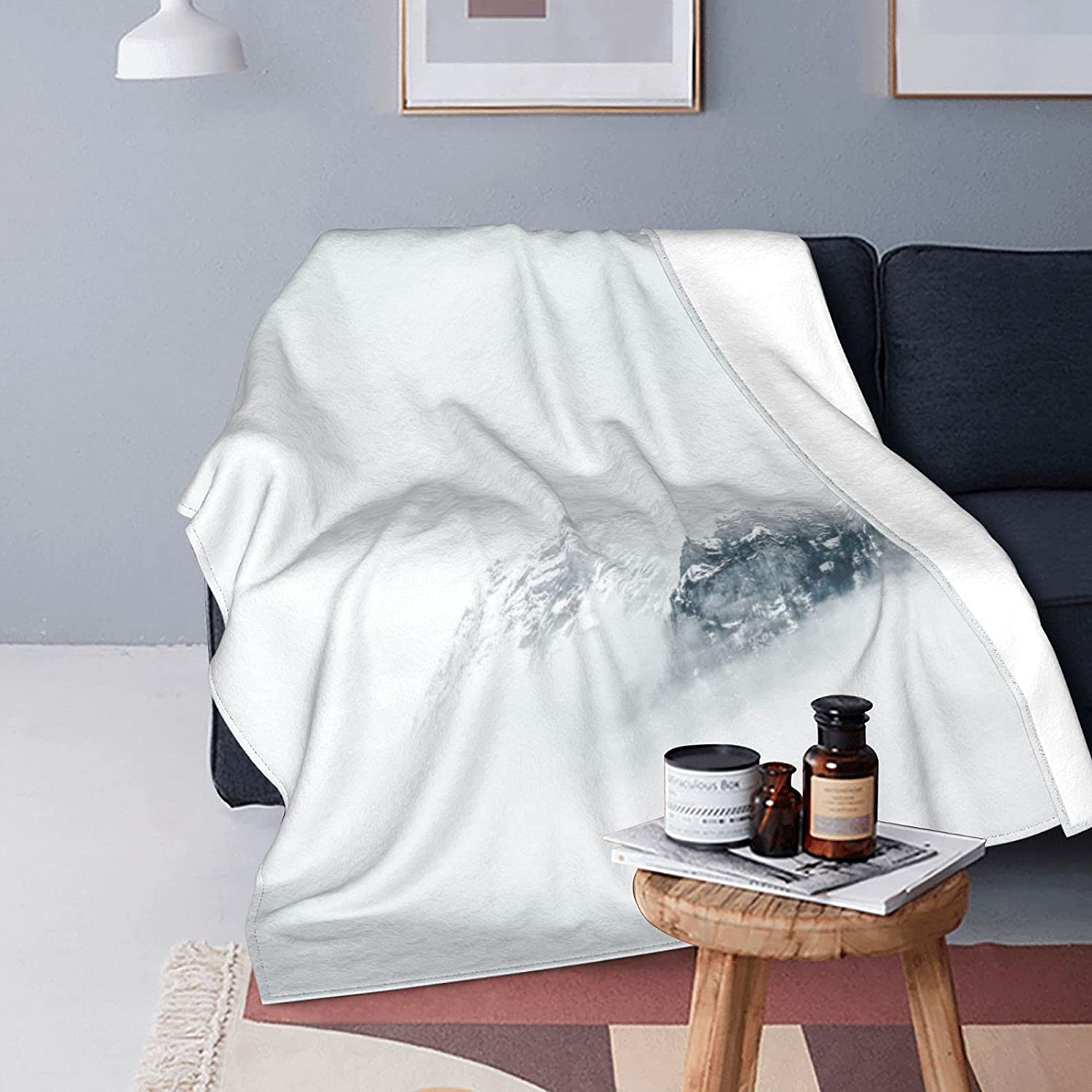 YAMADEI Super Soft Flannel Blanket Snow Mountain and 1 year warranty Comfortable Bombing new work