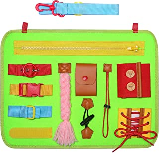 SIMBOOM Toddlers Busy Board, Montessori Basic Skills Activity Board for Early Learning Life Skills - Developmental Toys with Zippers, Buttons, Buckles for Kids Holiday Gifts,Green