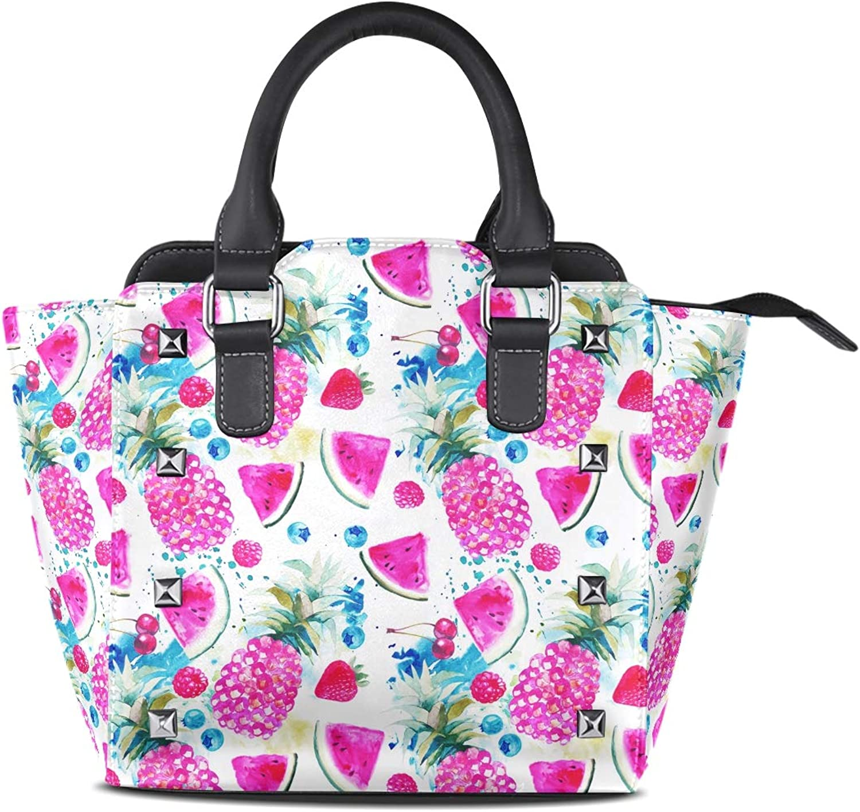 My Little Nest Women's Top Handle Satchel Handbag Watercolor Pineapples Watermelons Ladies PU Leather Shoulder Bag Crossbody Bag