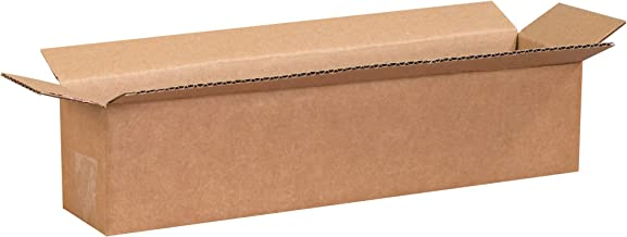 """Aviditi 1844 Long Corrugated Cardboard Box 18"""" L x 4"""" W x 4"""" H, Kraft, for Shipping, Packing and Moving (Pack of 25)"""