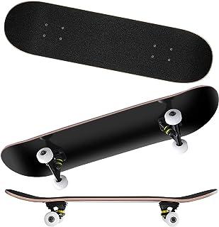スケートボード 31インチ コンプリート スケボー 無地 初心者向け 子供用 キッズ 大人用 誕生日 プレゼント ツール リュック付き ブラック