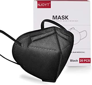 Face Mask Black Disposable Individually Wrapped 5 Layer Face Mask 20 Pack | Black Face Mask for Protection Non-Woven | Face Coverings for Men and Women Lightweight and Comfortable on Skin