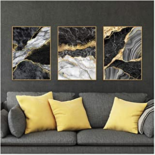 Kkglo 3Pcs Canvas Abstract Wall Art Black White Painting Marble With Golden Veins Posters Prints Picture For Living Room D...