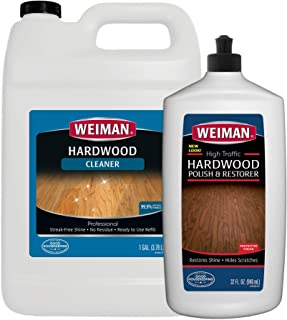 Weiman Hardwood Floor Cleaner and Polish - 128 Ounce Cleaner and 32 Ounce Polish - High-Traffic Hardwood Floor, Natural Shine, Removes Scratches, Leaves Protective Layer