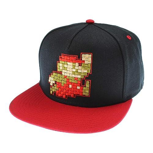 6b1414e3c0d Nintendo Super Mario Hat Pixel Mario Character Black Snapback Hat - One Size