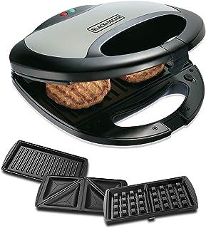 Black+Decker TS2090 750 Watt 3-in-1 Multiplate Sandwich, Grill and Waffle Maker (Grey)