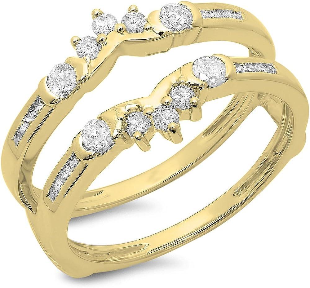 Dazzlingrock Collection 0.50 Carat (ctw) 14K Gold Round Diamond Ladies Anniversary Wedding Enhancer Guard Double Ring 1/2 CT