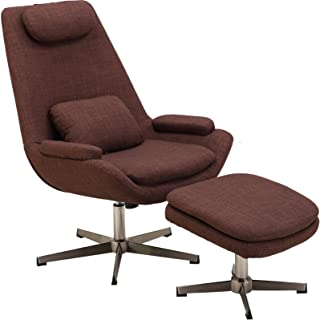 Hanover Westin Mid-Century Modern Scoop Ottoman in Chocolate Brown, Lounge Chair