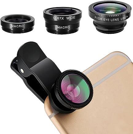 PUBAMALL 3 en 1 kit de lentes Clip universal para móvil celular,lente macro y kit de lente gran angular, lentes de cámara para teléfono celular con clip para iPhone, Android, teléfonos móviles Samsung y tabletas