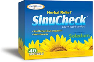 Enzymatic Therapy SinuCheck Clear-Headed Comfort, Non-Drowsy Herbal Relief, 40 Softgels