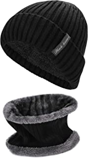 Oumers Beanie Knit Hats Scarf Set, Knit Hat Neck Scarf Men Women Unisex Stretchy Hats Warm Scarf for Walking Trip Cycling Skiing Snowboarding Winter Activities Cold Protection