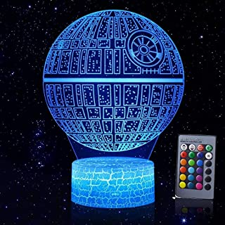 Zoohao 3D Illusion Night Light,3D Phantom Star Wars Nightlight, Colorful Touch with Remote Control LED Desk Lamp, Table Light for Room Decorative or Gifts for Friends/Kids and Star Wars Fans