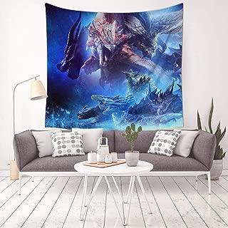 MARI DM Monster-Hunter-Dragon Tapestry Wall Hanging Home Decor 3D Blanket for Bedroom Living Room Dorm 59.1 X 59.1 Inch