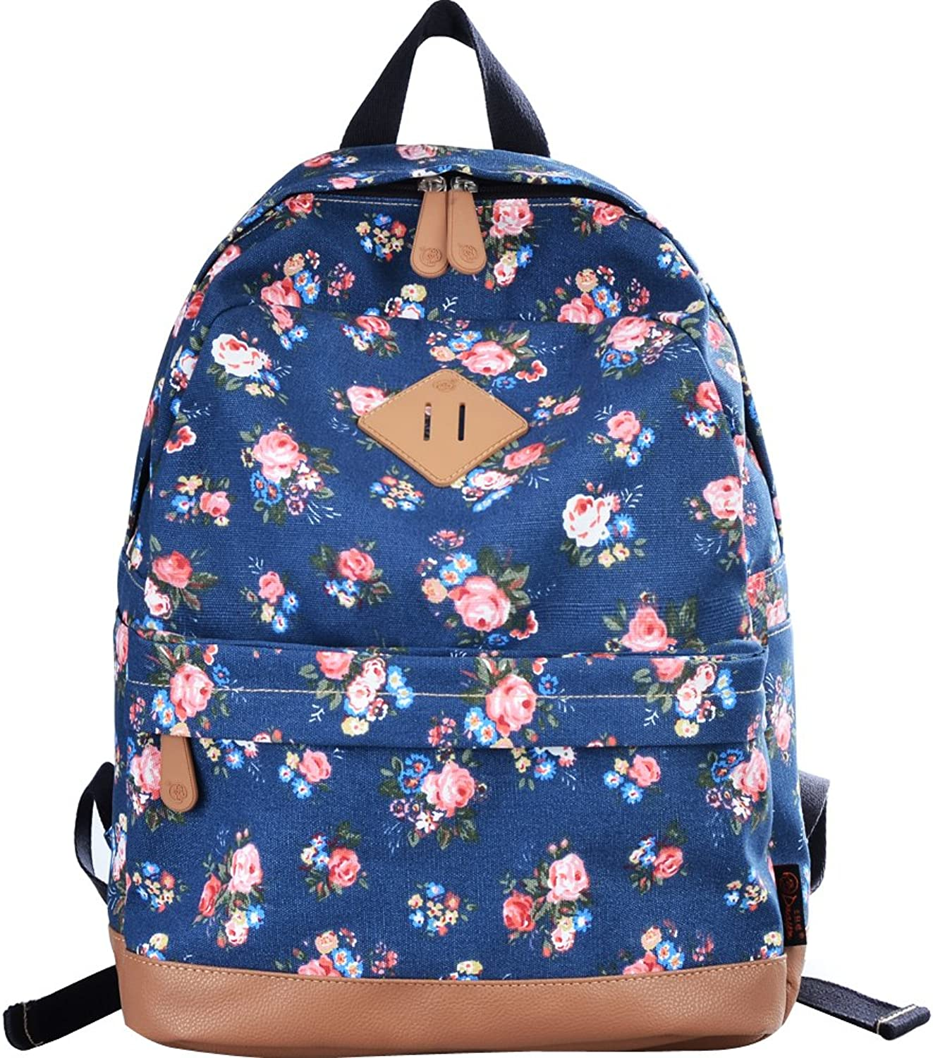 DGY Womens Peony Pattern Design Korean Fashion Casual Preppy Style Backpack G00133 Light blueee