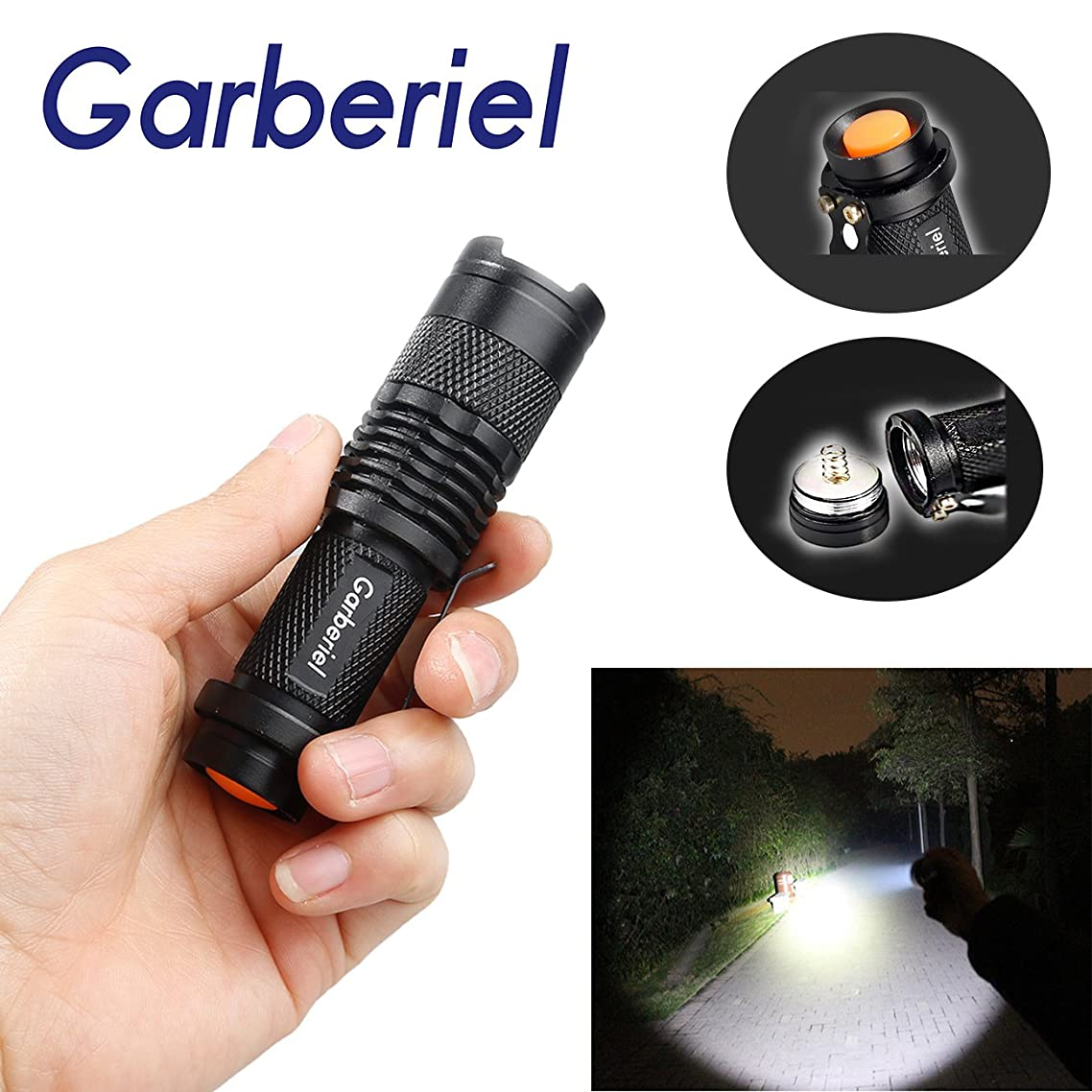 WishDeal 300lm Mini Q5 Led Flashlight Torch Adjustable Focus Zoom Light Lamp
