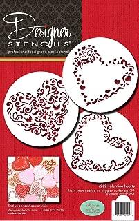 Designer Stencils C202 Swirl Valentine Heart Cookie Stencils, Beige/Semi-Transparent