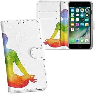 igcase iphone7 アイフォーンAPPLE APPLEsoftbank 専用ケース 手帳型 スマホカバー 両面プリント iphone7 ケース カバー レザー ケース 手帳タイプ フリップ ダイアリー 二つ折り 革 フルデザイン 013584 ヨガ 虹 カラフル