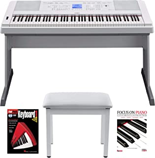 Yamaha DGX660W 88 Key Digital Piano with Knox Piano Bench and Book/DVD