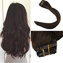 Full Shine 8 Pcs Clip In Hair Extension 16 Inch 120 Gram Dark Brown Color 2 Seamless Clip In Hair 100 Real Hair Extension Clip In Adhesive Tape Hair Extensions Full Head Set Clip Extensions Human Hair
