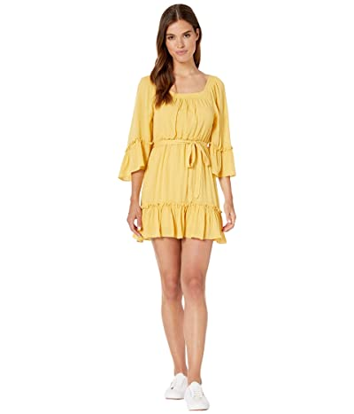 BB Dakota Gauze Effect Dress (Lemon Drop) Women