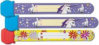 SIGEL SY451 Lot de 3 Bracelets d'identification pour filles, réutilisable, Motif licorne/fleurs