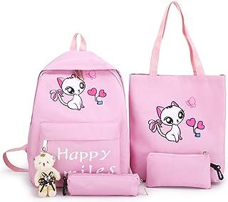 طقم حقائب ظهر للمدرسة من القماش مزينة بطبعة قطة جميلة مكون من 4 قطع، حقائب مدرسية للبنات في المرحلة الابتدائية لتخزين الكتب