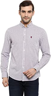 Red Tape Men's Checkered Regular fit Casual Shirt (RSF9000A_Grey Red L)