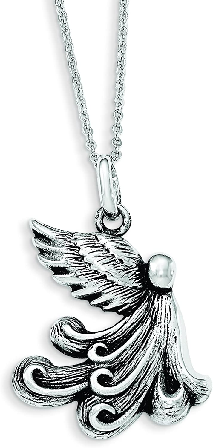925 Sterling Silver Antiqued My Chemo Angel 18in Necklace