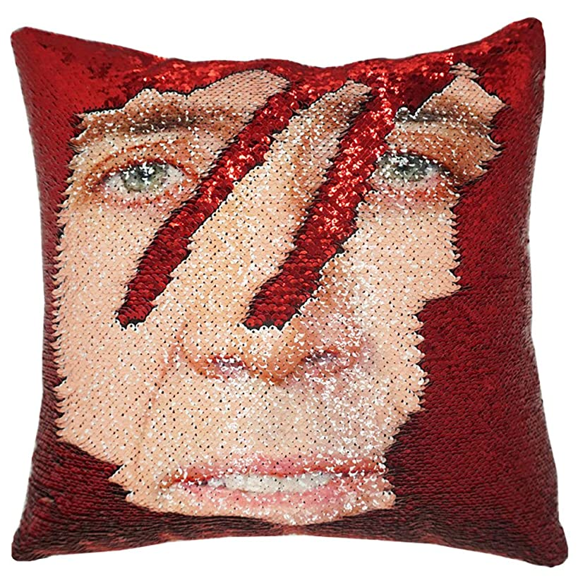 """URSKYTOUS Reversible Nicolas Cage Sequin Pillow Case Decorative Mermaid Pillow Cover Color Changing Cushion Throw Pillowcase 16"""" x 16"""",Nicolas and Red"""