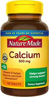 Nature Made Calcium 500 mg, with Vitamin D3 for Immune Support, Tablets, 130 Count, helps support Bone Strength