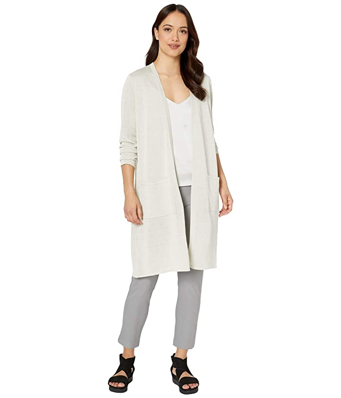 Eileen Fisher  Petite Fine Organic Linen Crepe Sparkle Simple Long Cardigan (Bone) Womens Clothing