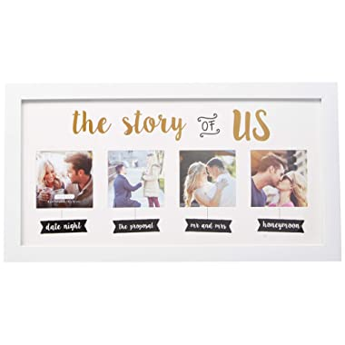 Kate & Milo 'The Story of Us' Wedding Collage Picture Frame, Our Love Story Keepsake, Engagement, Bridal Shower or Wedding Gift for Couple, White