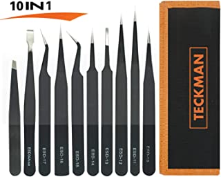 TECKMAN Precision Tweezer Set,10 Pack Best ESD Tweezers Set Stainless Steel Long Tweezers with Curved,Pointed,Slanted Tips for Eyebrow,Eyelash Extension,Craft, Jewelry, Soldering & Laboratory Work