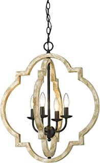 CALDION 4-Light Farmhouse Wood Chandelier, Adjustable...
