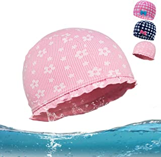 H · & · C Kids Swim Cap Lycra Swimming Caps for Kids Plaid Swim Caps Bathing Caps Long Hair Swimming Hat Toddler Swim Cap