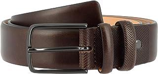 Antica Toscana Cintura Uomo Made in Italy in Vera Pelle H 3,4 cm Accorciabile con Fibbia ad Ardiglione Castagna da 125 cm