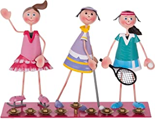 Hanukkah Menorah Hanukkia Metal Golfer, Tennis and Scateing Girls Players 11.75