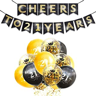 Happy 21th Birthday Anniversary Banner Decorations Kit Gold Confetti Balloons Supplies Glitter Cheers to 21 Years Banner S...