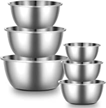Enther & LIFEASE Stainless Steel Mixing Bowls - Set of 6 Mixing Bowls with 304 Stainless Steel - Heavy Duty, Easy to Clea...