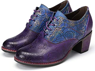 Leather Pumps for Women, Leather Oxford Dress Shoes Retro Handmade Floral Mid Heel Shoes Lace up Block Heel Pumps
