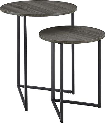 Walker Edison Modern Round Metal Base Nesting Set Side Accent-Living-Room Storage Small End Table, Set of 2, Slate Grey