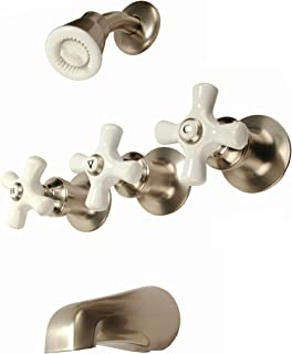 3-handle Tub & Shower Faucet, Satin Nickel Finish, Porcelain Handle, Compression Stems - By Plumb USA