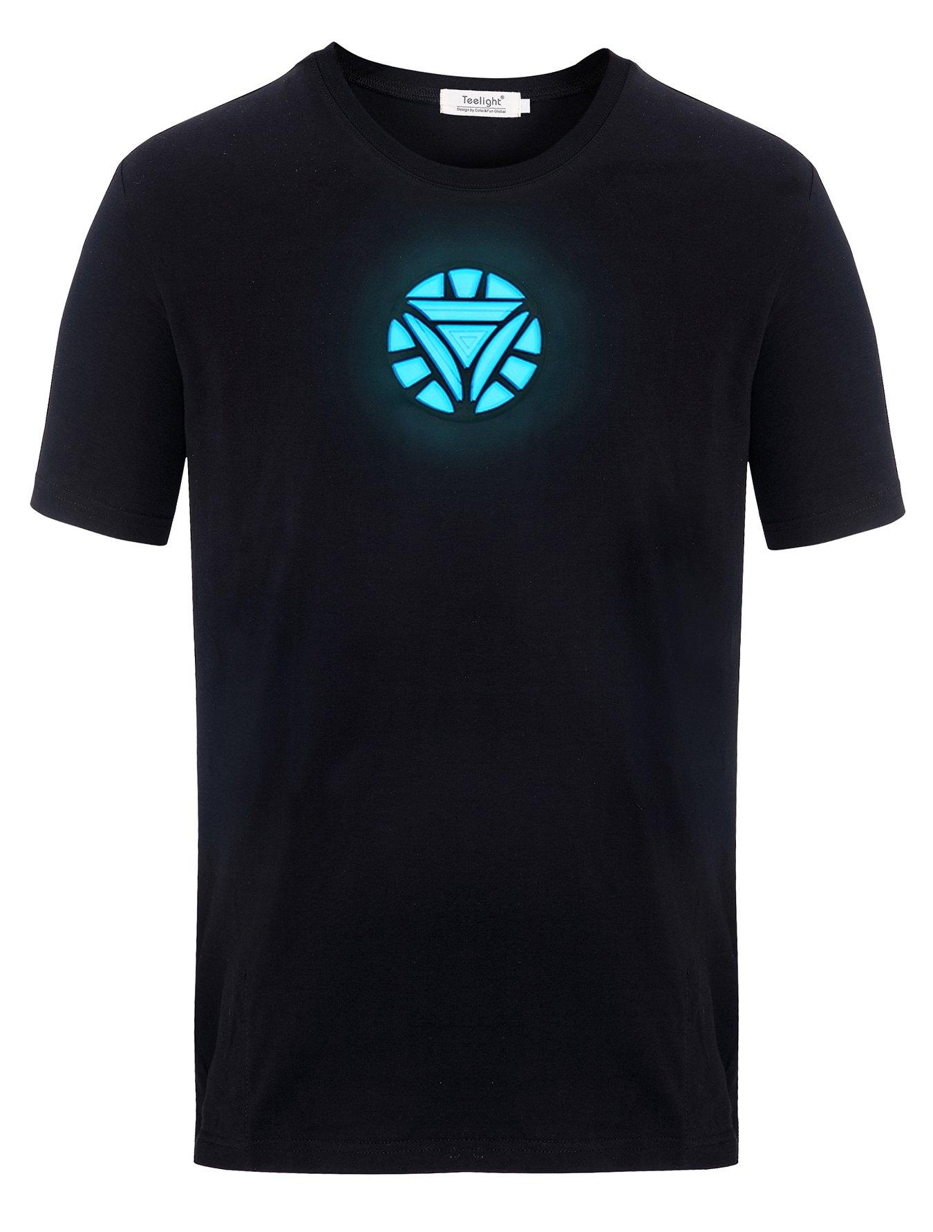 Tony Stark Light-Up Arc Reactor LED Iron Man 2 T Shirt, Black