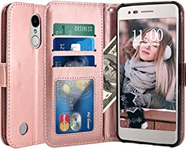 LG Aristo Case, LG Phoenix 3 Case, LG K8 2017 Case, LG Fortune Case, LG Risio Case, LG Rebel 2 LTE Case, LK Luxury PU Leather Wallet Flip Protective Case Cover with Card Slots and Stand (Rose Gold)